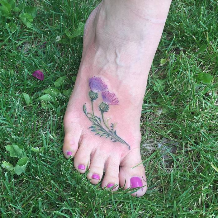 Lovely Thistle Tattoo by locusttattooslc