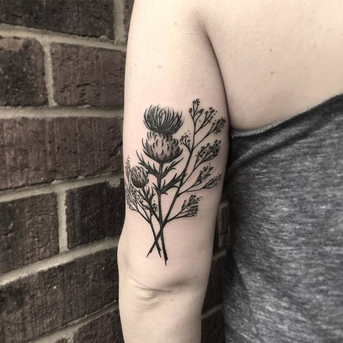 Black Ink Thistle Tattoo by liana_joy