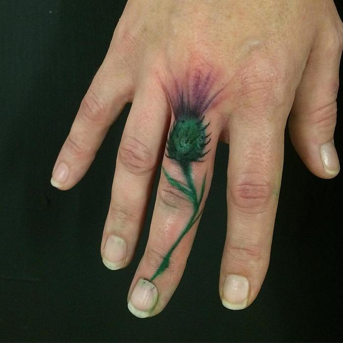 Small Thistle Tattoo by dbishoptattoo