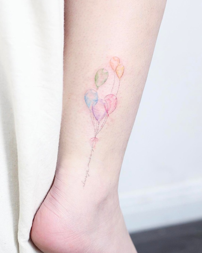 Colored Balloons and Typography Tattoo