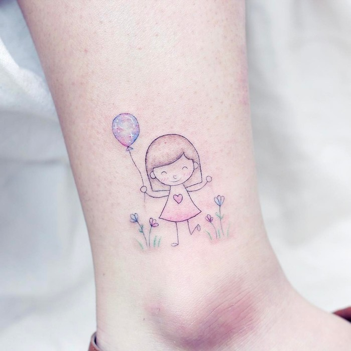 Little Girl and Balloon on Ankle