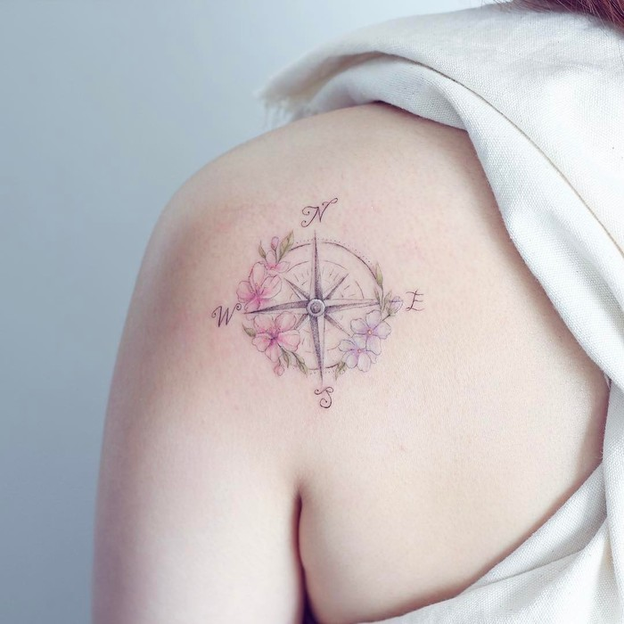 Compass Tattoo and Flowers