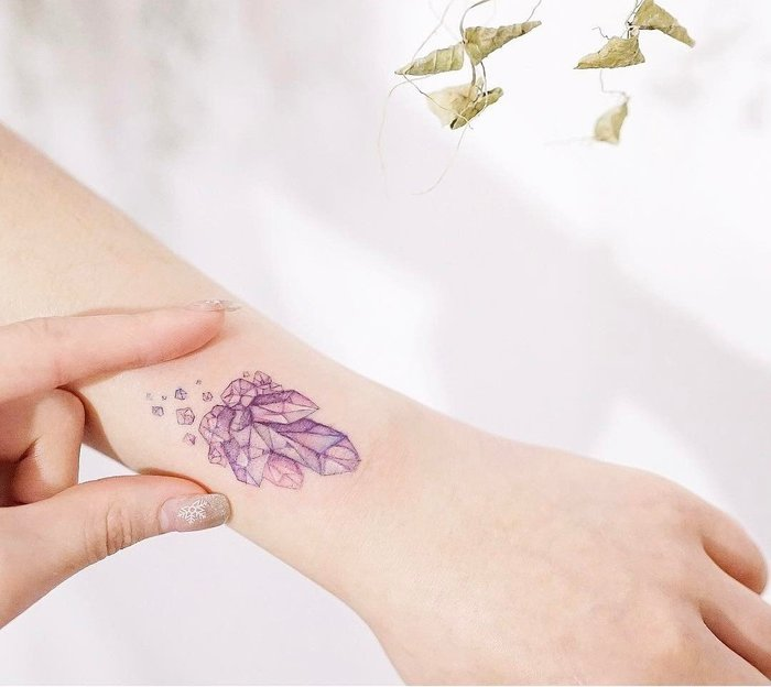 Small Crystal Tattoo on Wrist