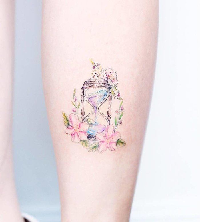 Wonderful Hourglass Tattoo on Calf