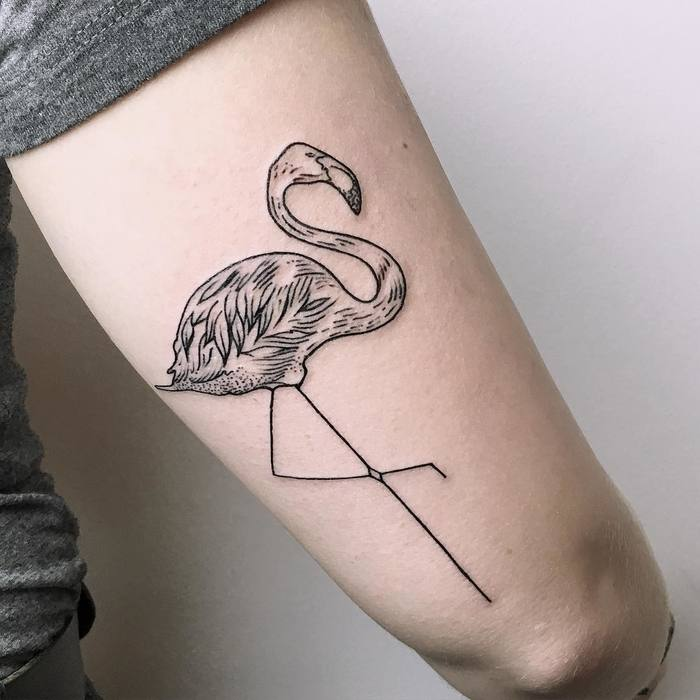 Flamingo Tattoo by mariafernandeztattoo