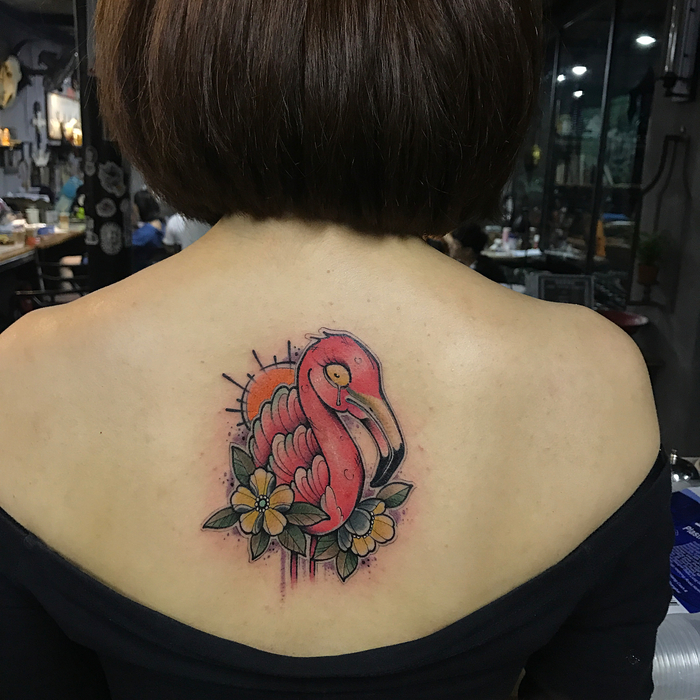 Flamingo Tattoo by zedutattoo_cn