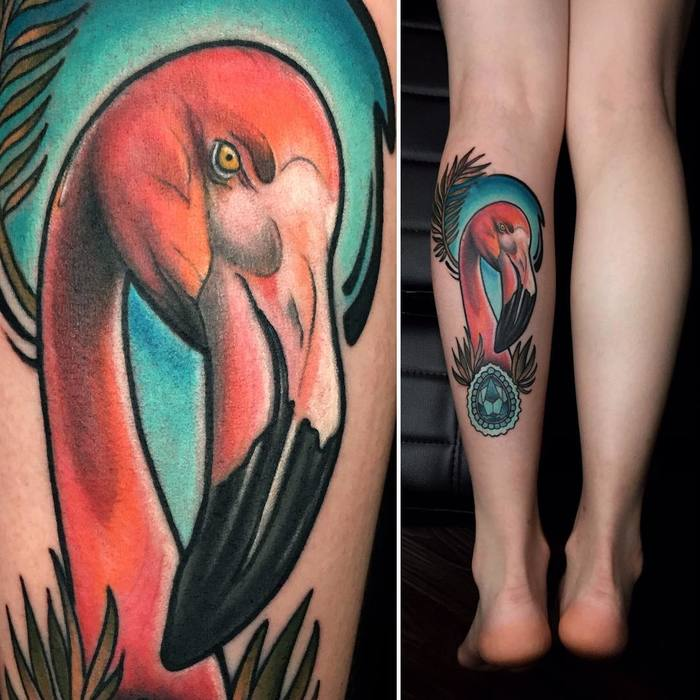 Flamingo Tattoo by joewutattoo