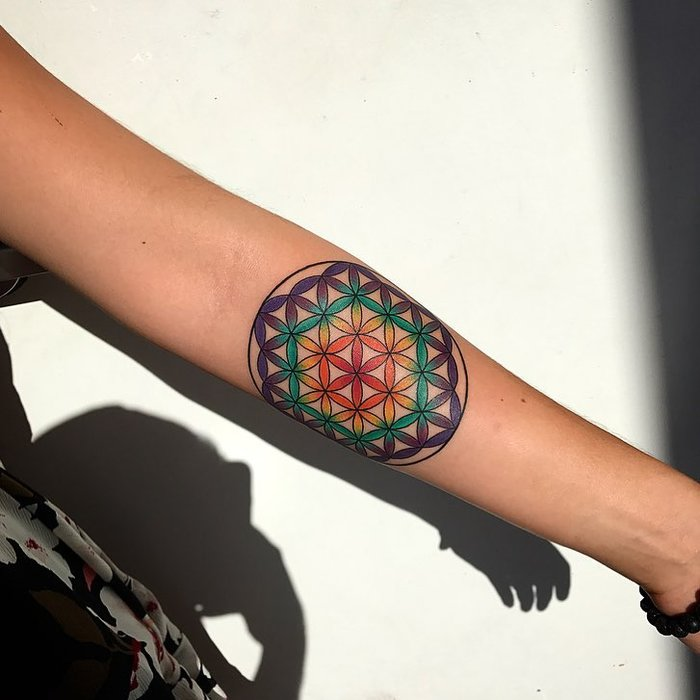 Flower of Life Tattoo by cam_aceshightattoo