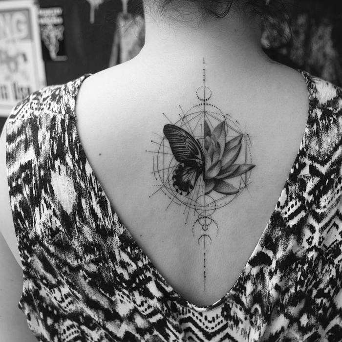 Half Lotus Half Butterfly Tattoo by balazsbercsenyi