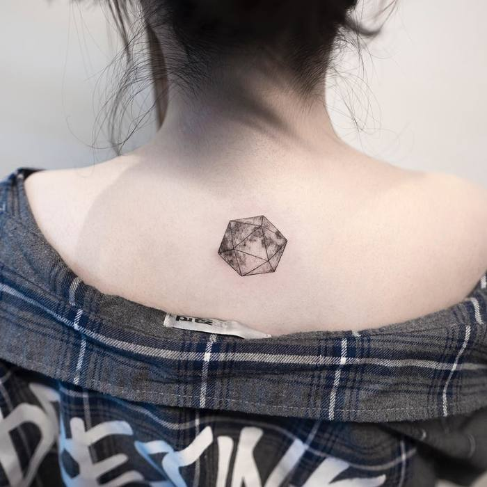 Geometric Moon Tattoo by ilwolhongdam