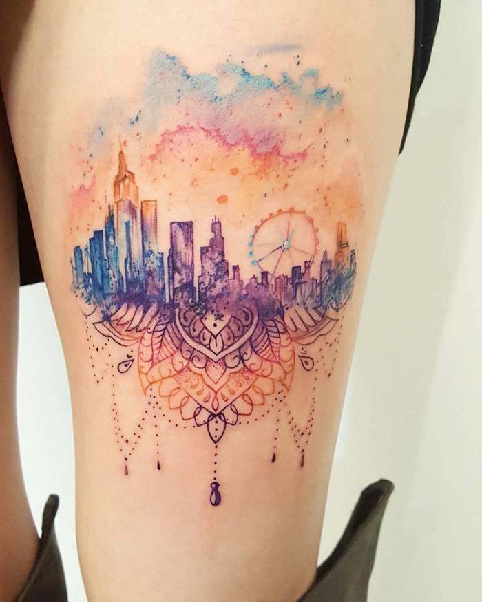 Watercolor Floating Mandala City by amberrobyntattoos
