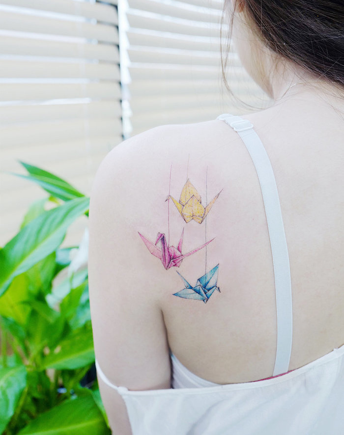 Colored Origami Cranes by tattooist_banul