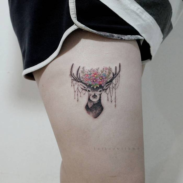 22 Adorable Deer Tattoo On Thigh