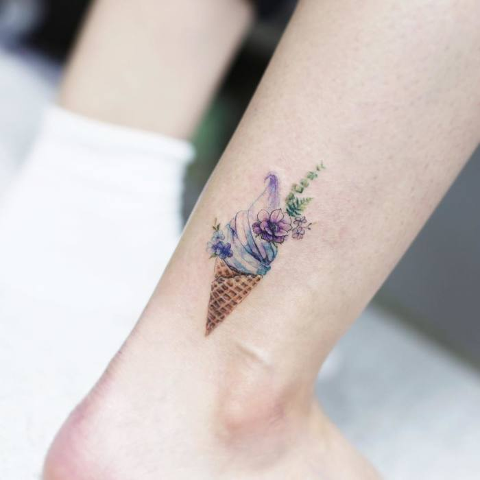 Ice Cream and Flowers on Ankle by tattooist_flower