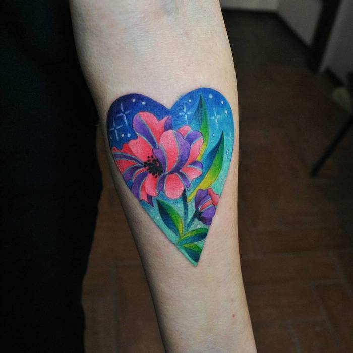 Colored Heart and Flowerby valeriatattooing