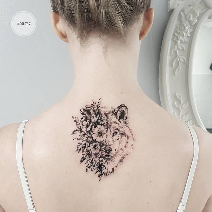 Floral Wolf Tattoo by goldy_z