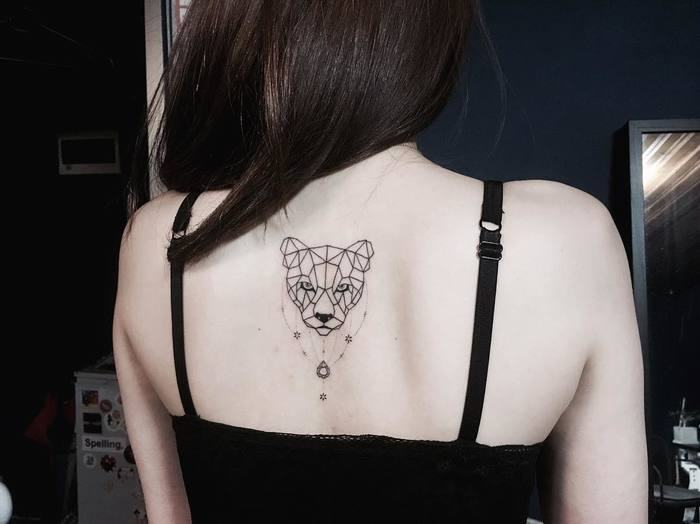 Polygonal Lioness Tattoo by _park_tae_