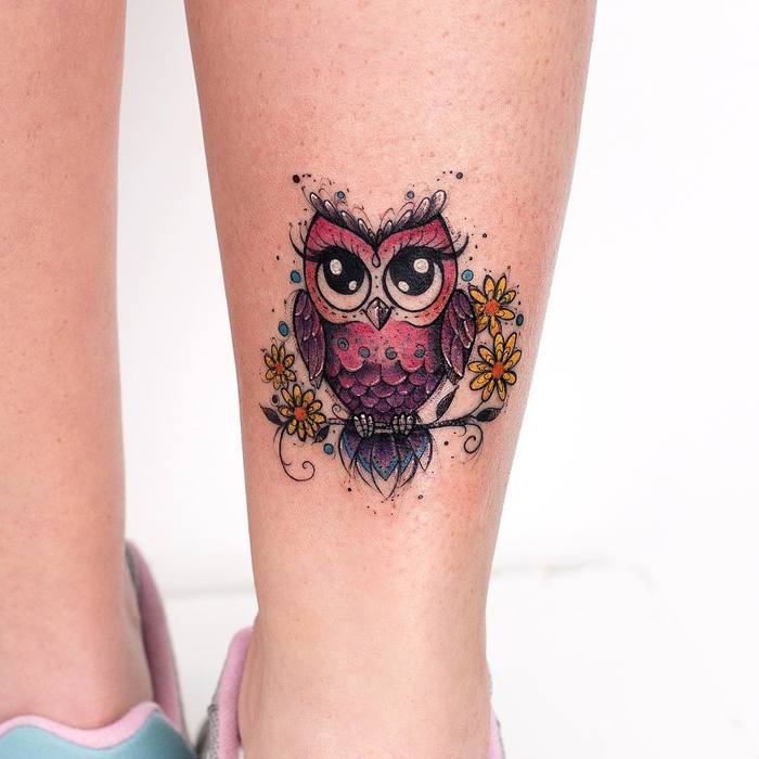 Colored Little Owl Tattoo by robcarvalhoart