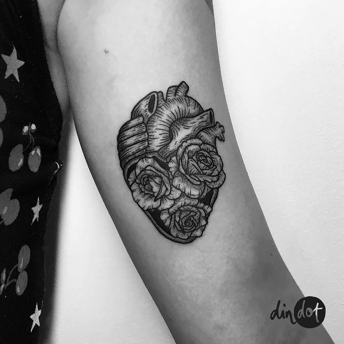 Floral Anatomical Heart Tattoo by dindottattoo
