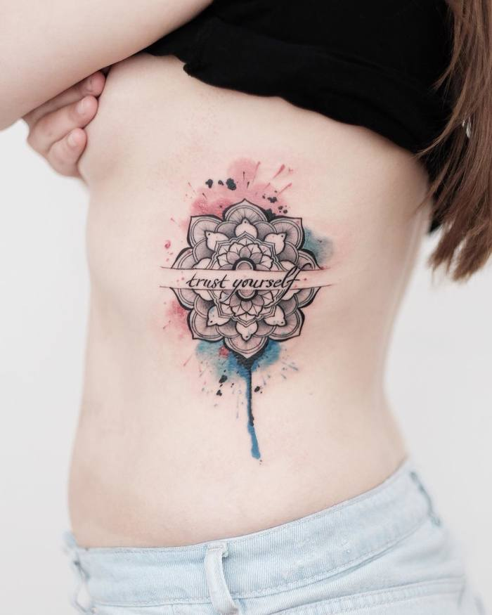 Watercolour Mandala Tattoo on Ribs by bensongascon