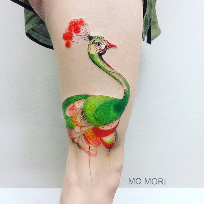 Colorful Peacock Tattoo by momori_ink