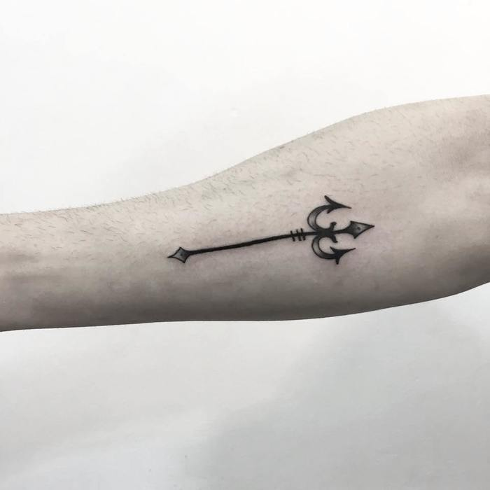 Small Trident Tattoo by s.a.mtattoo