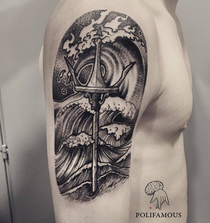 Half Sleeve Trident and Waves by conio_polifamous