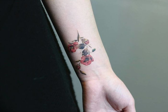 Camellia Tattoo by tattooist_gowoon