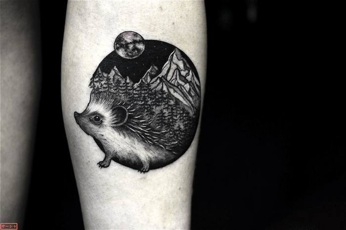 Hedgehog Tattoo by sashakatuna
