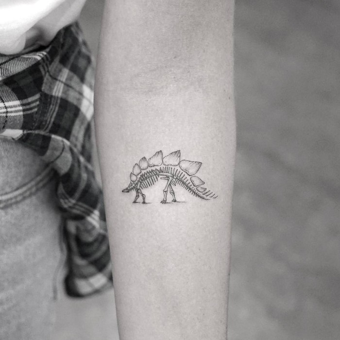 Stegosaurus Skeleton Tattoo by Mr. K