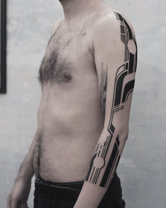 Blackwork Cybernetic Tattoo by Georgie Williams