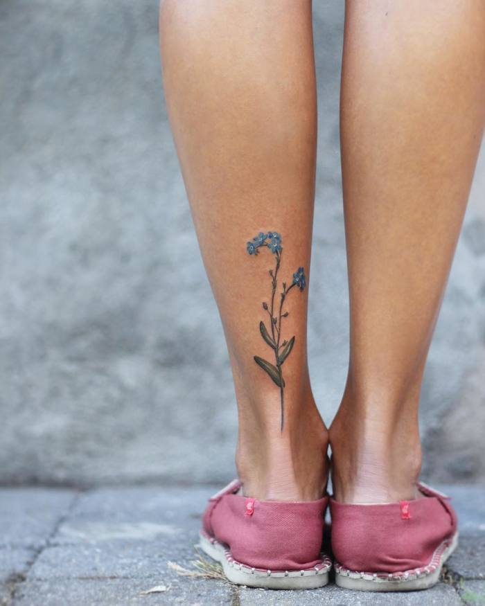 Forget Me Nots Tattoo on Leg by Cindy van Schie