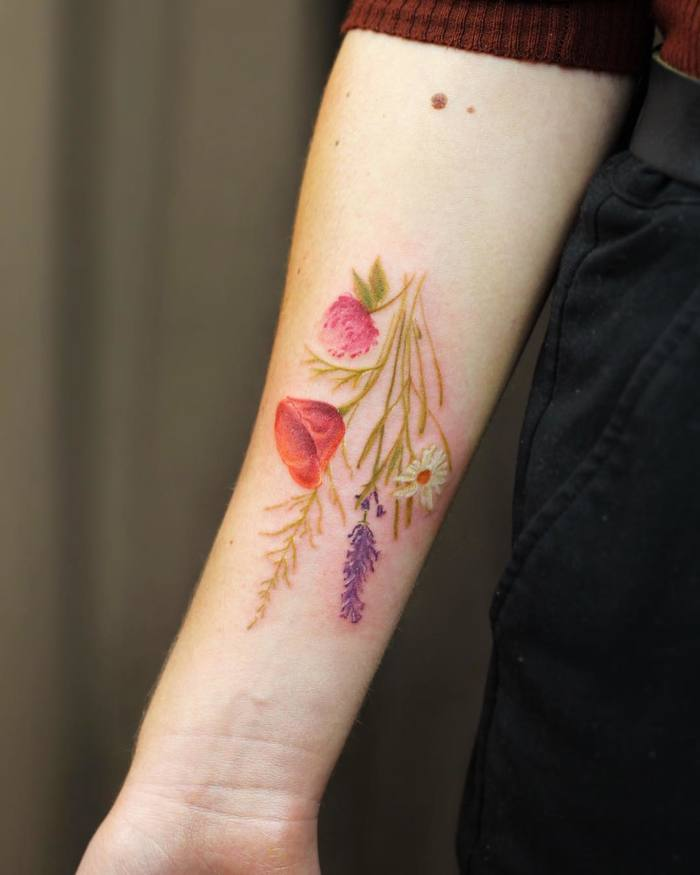 Gorgeous Botanical Tattoo by Cindy van Schie