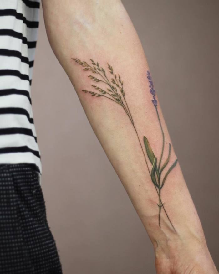 Grass and Lavender Tattoo by Cindy van Schie