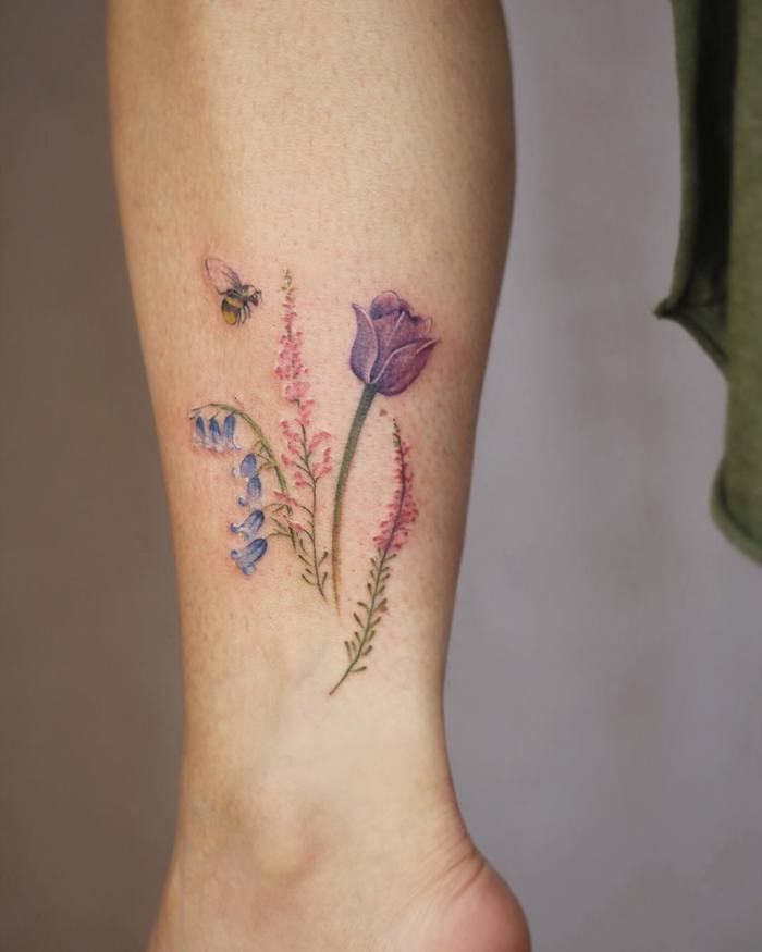 Bumble Bee and Wildflowers Tattoo by Cindy van Schie