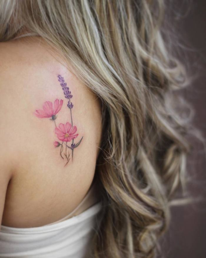 Cosmos Flowers and Lavender Tattoo by Cindy van Schie