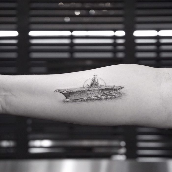 USS Independence (CV-62) Aircraft Carrier Tattoo by Mr. K