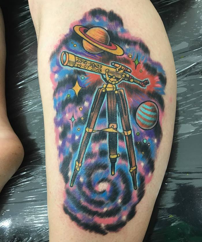 Traditional Telescope and Universe Tattoo by lindybtattoo