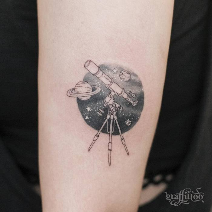 telescope & Space Tattoo by graffittoo