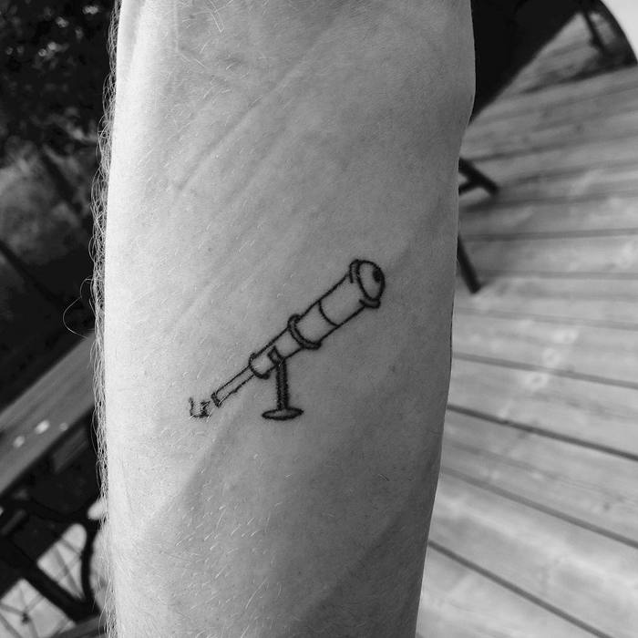 Simple Telescope Tattoo by la_vida_nica_tattoo