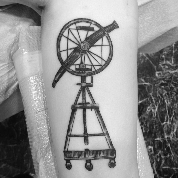 Blackwork Telescope Tattoo by amberktattoos