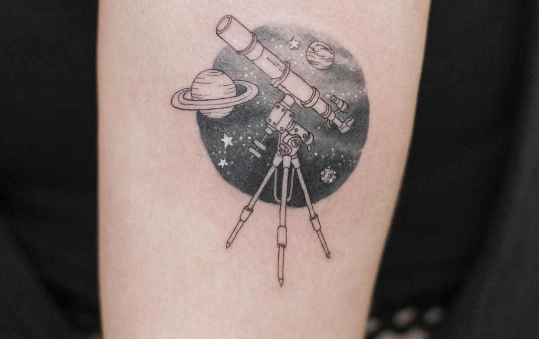 14 Fascinating Telescope Tattoo Designs for Explorers