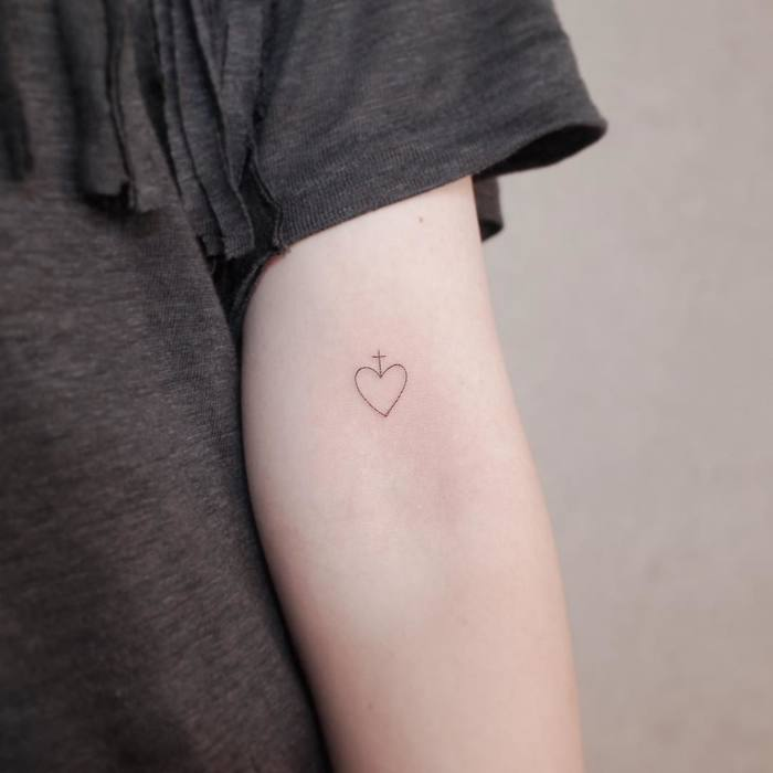 Fine Line Heart and Cross Tattoo by Witty Button