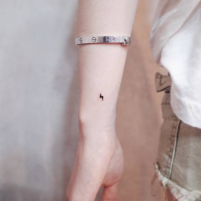 Micro Lightning Bolt Tattoo by Witty Button