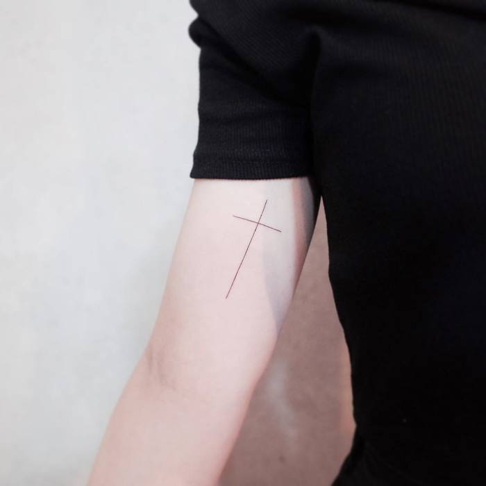 Minimalist Cross Tattoo by Witty Button