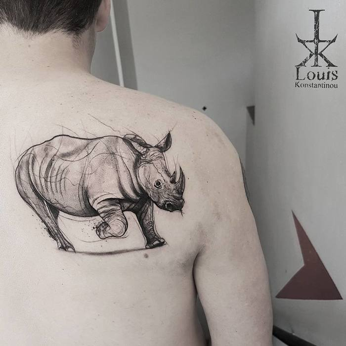 Rhino Tattoo by louiskonstantinou