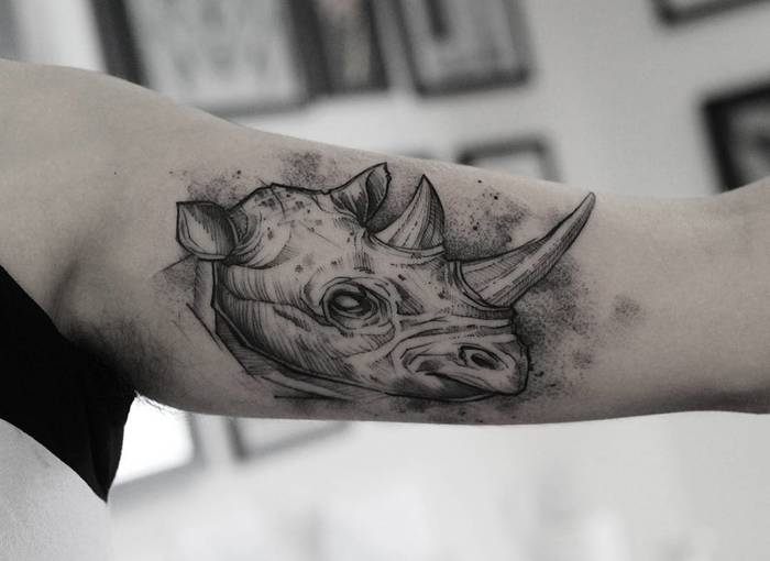 Rhino Tattoo by ricardodamaiatattoo